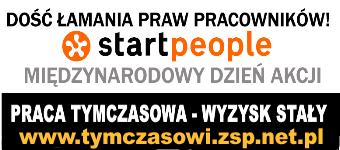 Akcje pod biurami Start People na temat pracy tymczasowej